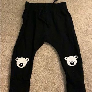 Hux baby drop crotch pant with bears on knees